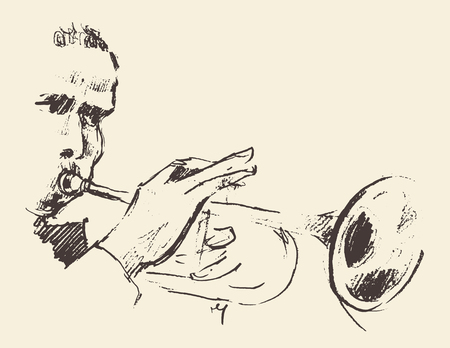 brass band: Concept for jazz poster Man playing trumpet Vintage hand drawn illustration sketch