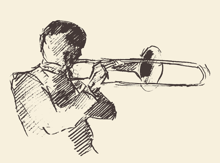 trombone: Concept for jazz poster Man playing trombone trumpet Vintage hand drawn illustration sketch Illustration