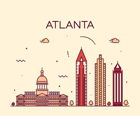 atlanta: Atlanta skyline detailed silhouette Trendy vector illustration linear style Illustration
