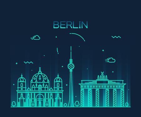berlin: Berlin skyline detailed silhouette Trendy vector illustration linear style