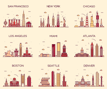 skylines: American cities San Francisco New York Chicago Los Angeles Miami Atlanta Boston Seattle Denver skylines detailed silhouette Trendy vector illustration linear style Illustration