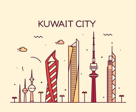 Kuwait city skyline detailed silhouette Trendy vector illustration linear style