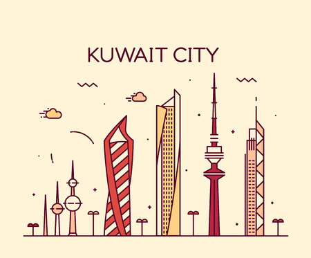 Kuwait city skyline detailed silhouette Trendy vector illustration linear style