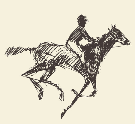hedges: Rider on a horse jockey engraved retro style hand drawn sketch Illustration