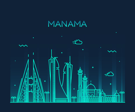 urban landscapes: Manama skyline detailed silhouette Trendy vector illustration linear style