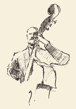 double bass: Concept for jazz poster Man playing double bass Vintage hand drawn illustration sketch