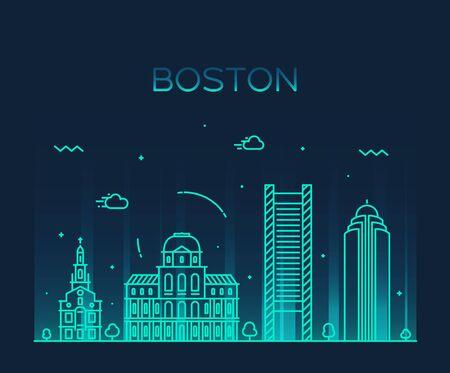 skyline city: Boston skyline detailed silhouette Trendy vector illustration linear style Illustration