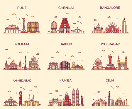 Set of Indian cities skylines Mumbai Delhi Jaipur Kolkata Hyderabad Ahmedabad Pune Chennai Bangalore Trendy vector illustration linear style Vectores