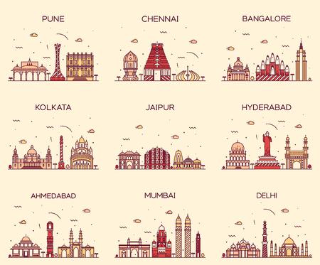 Set of Indian cities skylines Mumbai Delhi Jaipur Kolkata Hyderabad Ahmedabad Pune Chennai Bangalore Trendy vector illustration linear style Stock Illustratie