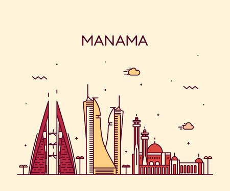 skyline: Manama skyline detailed silhouette Trendy vector illustration linear style