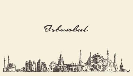 pavo: Horizonte de Istanbul Turquía detallada cosecha ilustración grabada boceto dibujado a mano