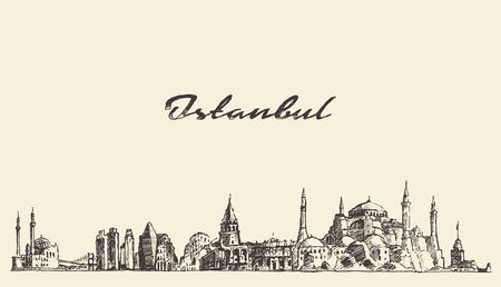 Istanbul gedetailleerde skyline Turkije vintage gegraveerde illustratie hand getekende schets Stock Illustratie