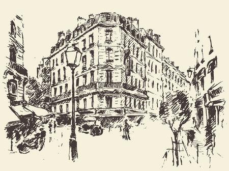 city landscape: Streets in Paris France vintage engraved illustration hand drawn