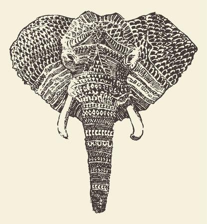 hand on the head: Ethnic elephant head engraving style vintage illustration hand drawn sketch Illustration