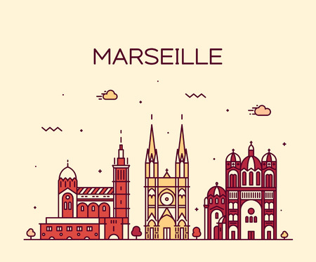 Marseille skyline detailed silhouette Trendy vector illustration linear style