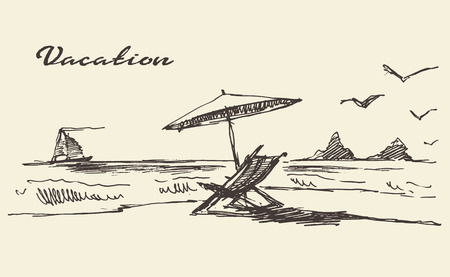 beach: Beautiful hand drawn vacation poster with seaside view and beach vector illustration sketch Illustration