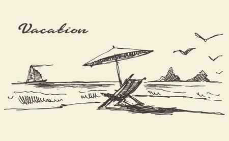 �sketch: cartel de las vacaciones dibujado a mano hermosa con vista al mar y la playa de ilustraci�n vectorial boceto