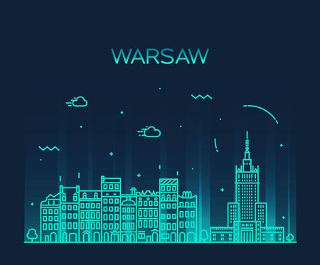 warsaw: Warsaw skyline detailed silhouette Trendy vector illustration linear style