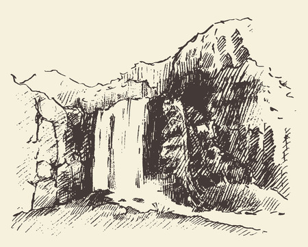 line drawing: Vintage engraving illustration of beautiful waterfall hand drawn