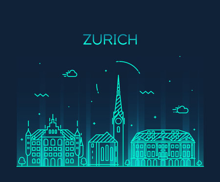 sky line: Zurich skyline detailed silhouette Trendy vector illustration linear style Illustration