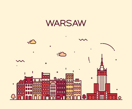 Warsaw skyline detailed silhouette Trendy vector illustration linear style Фото со стока - 47389611