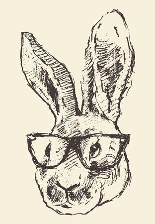 vidro: cabeça de coelho no moderno óculos esboço estilo vindima ilustração mão desenhada