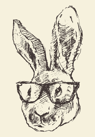bunny: Rabbit head in hipster glasses engraving style vintage illustration hand drawn sketch