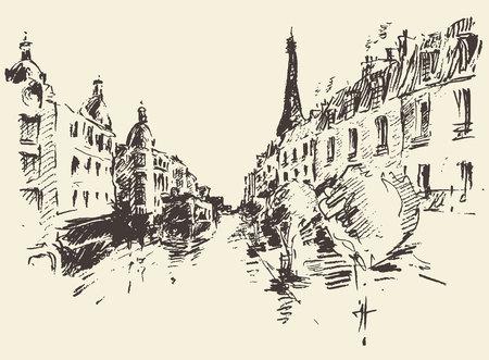 france: Streets in Paris France vintage engraved illustration hand drawn