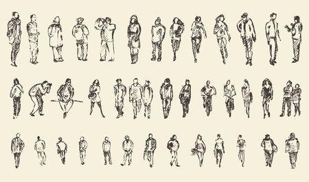 人: 人,男人和女人和兒童的商業素描矢量插圖,剪影