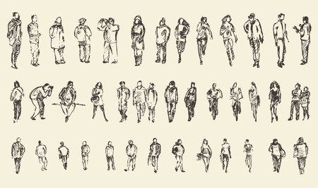 nhân dân: Người, người đàn ông và phụ nữ và trẻ em kinh doanh phác thảo minh hoạ vector, hình bóng Hình minh hoạ