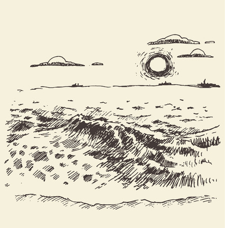 sunset beach: Hand drawn landscape with sea and clouds at sunset vintage vector illustration sketch Illustration