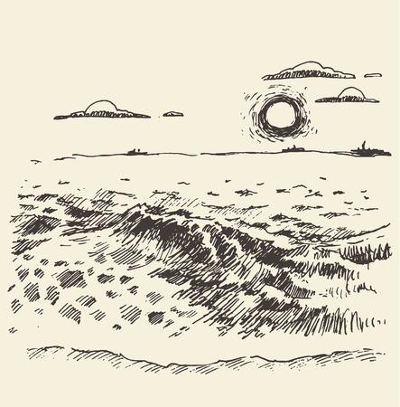 Sunset landscape vector: Mặt phong cảnh được vẽ bằng đường biển và mây lúc hoàng hôn vector cổ điển minh họa phác thảo