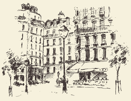 sketch: Streets in Paris France vintage engraved illustration hand drawn