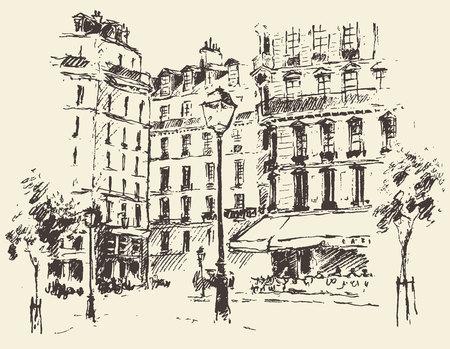 spire: Streets in Paris France vintage engraved illustration hand drawn