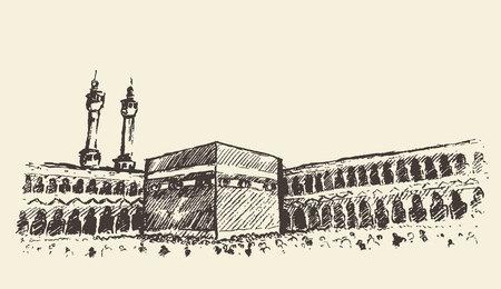 muslim: Holy Kaaba in Mecca Saudi Arabia with muslim people vintage engraved illustration hand drawn sketch