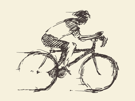 biking: Bicyclist rider man with bike isolated on background vector illustration hand drawn sketch