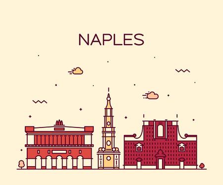 naples: Naples skyline detailed silhouette Trendy vector illustration linear style