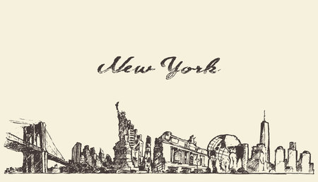 freehand: New York city skyline vector vintage engraved illustration hand drawn sketch
