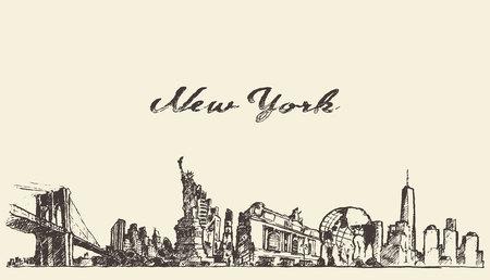 voyage: New York vecteur d'horizon de la ville millésime dessiné à la main esquisse illustration gravée