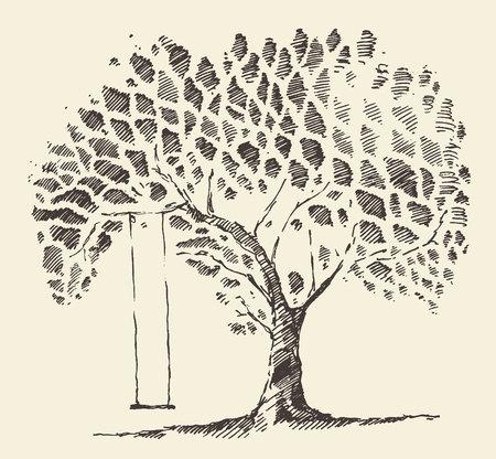 sauce: Ilustración romántica hermosa del árbol con el oscilación boceto dibujado a mano