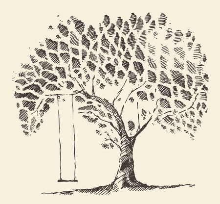 Mooie romantische illustratie van de boom met getrokken swing hand schets Stock Illustratie