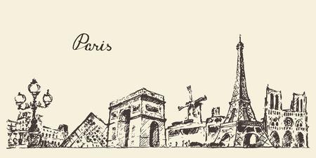 paris vintage: Dibujado Horizonte de París Francia cosecha ilustración grabada mano