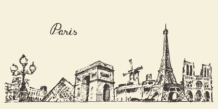 eiffel: Paris skyline France vintage engraved illustration hand drawn