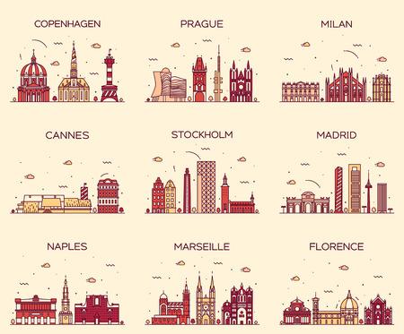 europa: Europa horizontes silueta detallada de Copenhague Praga Milán Cannes Estocolmo Madrid Nápoles Marsella Florencia de moda estilo de ilustración vectorial arte de línea Vectores