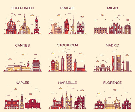 Europe skylines detailed silhouette Copenhagen Prague Milan Cannes Stockholm Madrid Naples Marseille Florence Trendy vector illustration line art style