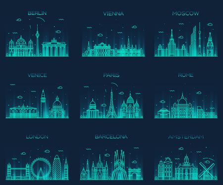 turismo: Europa skylines silhouette dettagliata Berlino Vienna Mosca Venezia Parigi Roma Londra Amsterdam Barcellona Trendy illustrazione vettoriale stile di linea arte Vettoriali