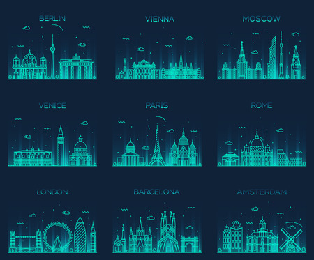 Europe skylines detailed silhouette Berlin Vienna Moscow Venice Paris Rome London Amsterdam Barcelona Trendy vector illustration line art style Çizim