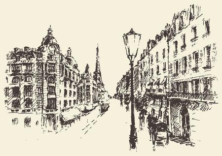 パリの通りフランス ヴィンテージ刻印イラスト手描き  イラスト・ベクター素材