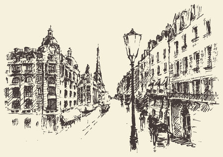 sketch drawing: Streets in Paris France vintage engraved illustration hand drawn