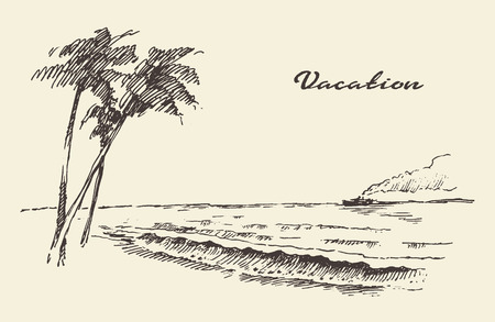 Beautiful hand drawn vacation poster with seaside view and beach vector illustration sketch 矢量图像